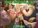 A4 Zootopia Personalised Edible Icing or Wafer Birthday Cake Topper